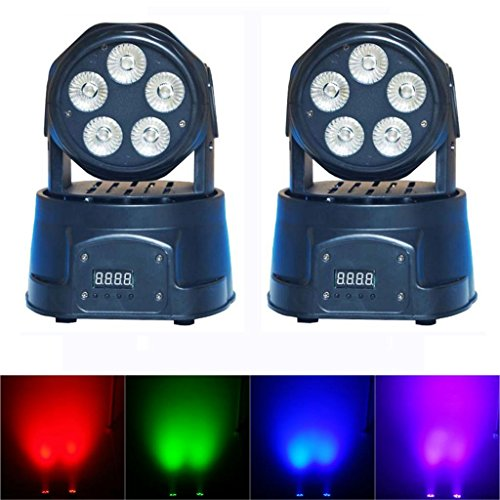 Yiscortm Stage Lighting Led Moving Head Beam Light Rgbwauv (6-In-1) 5 X 18W 5Leds Dmx512 14 Channels For Xmas Christmas Birthday Home Garden Party Club Disco Effect (Pack Of 2)