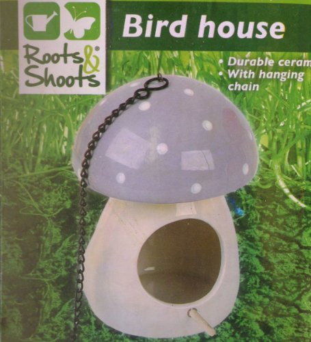 Outdoor Living Roots & Shoots Ceramic Hanging Mushroom Bird House Grey 195/651