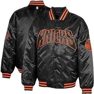 NBA New York Knicks Bulls Big Sizes Black Satin Full Button Jacket by Football Fanatics