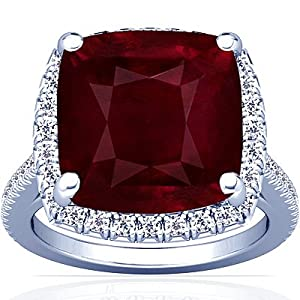 18K White Gold Cushion Cut Ruby Fana Designer Ring