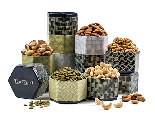 5 Tier Gourmet Raw Nut Assortmet Gift Tin Tower, For Healthy Snacking and Gifting.
