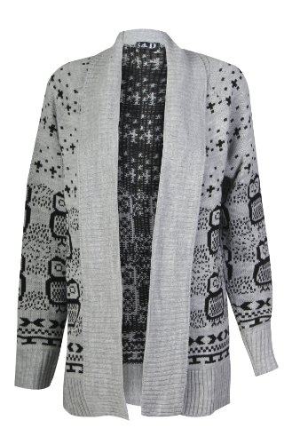 Forever Women's Long Sleeves Owl Print Knitted Cardigan (SM-6/8, Grey)
