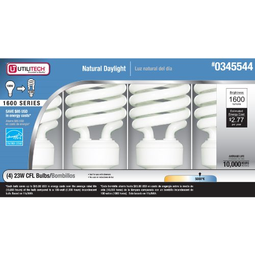 Utilitech 4-Pack 23-Watt (100W) Spiral Standard Base Daylight (5000K) Cfl Bulbs Energy Star
