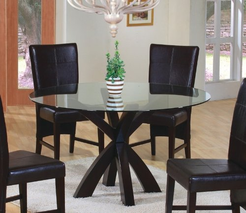 Cheap Round Dining Table with Glass Top Rich Cappuccino Finish (VF_101071-CB48RD)