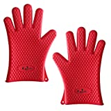 Koala Heat Resistant 2-Piece Cooking Silicone Gloves Set with 2 Pot Holders & E-Cook Book, Red