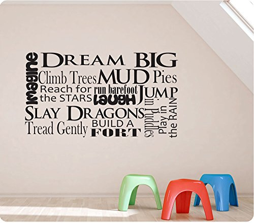 "36"" Boy Saying Collage Imagine Dream Climb Trees Mud Pies Barefoot Play Puddles Build Fort Sly Dragons Reach For Stars Wall Decal Sticker Art Mural Home Décor Quote"