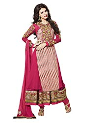 Touch Trends Pink Embroidered Dress Material