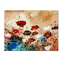 Wieco Art - Blooming Poppies Modern Stretched and Framed Giclee Canvas Prints Flowers Artwork Colorful Floral Pictures Paintings on Canvas Wall Art Ready to Hang for Home Decorations Decor