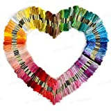 LIFECART 100 Skeins Assorted Coloured Cotton Thread Embroidery Thread