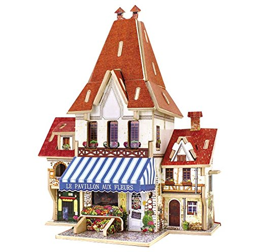 Thinkmax [France Flower Shop]Lovely Kids Wooden Toy 3D Puzzle Game France Landscape Architecture Model front-208642