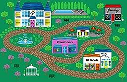 Kids Area Rug Princess Village Carpet Play Time Design#10 (4ftX5ft9in.)