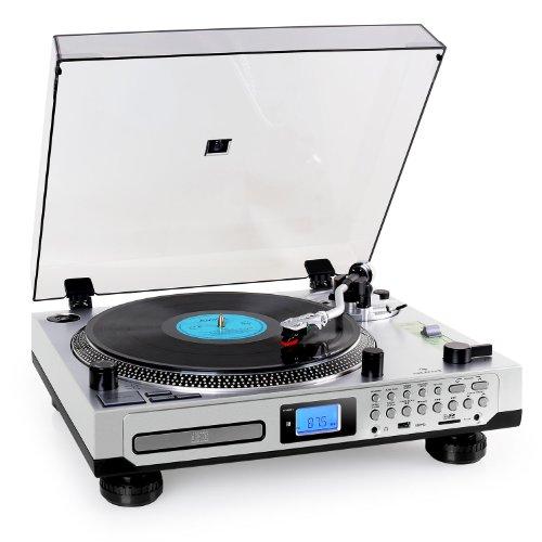 Auna TT-1200 Schallplattenspiler moderner Plattenspieler zum digitalisieren (USB-SD-Slot, MP3-CD-Player, Kassettendeck, UKW-Radio, Fernbedienung) silber