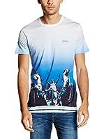 Dirk Bikkembergs Camiseta Manga Corta (Blanco / Azul)