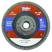 "Weiler Vortec Pro 7/8"" Arbor, 4-1/2"" Diameter, 36 Grit, Zirconium, Phenolic Backing, Flat Abrasive Flap Disc"