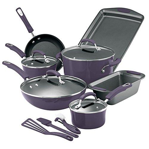 Rachael Ray Purple Cookware Set Pots Pans 14 Pieces