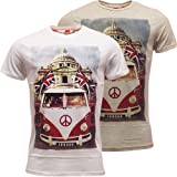 Brave Soul Mens T Shirt 'Camper' Van Designer Top White or Grey