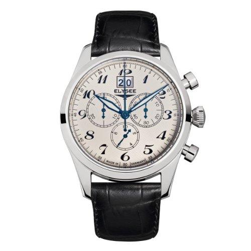 Elysee 38015 - Reloj para hombres, correa de cuero color negro