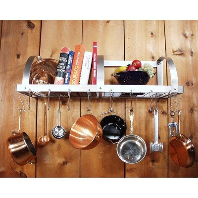 Cheap 36″ Wall Mounted Pot Rack with 12 Hooks and Optional Utensil Grid Grid: With Grid (WL36 G)