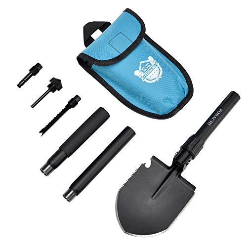 Military Survival Folding Shovel and Pick with Carrying Pouch for Camping, Hiking, Backpacking, Fishing, Tactical Army Surplus Multitool, Trench Entrenching