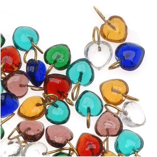 Tiny Glass Heart Drops In Assorted Colors 7mm 100 Beads
