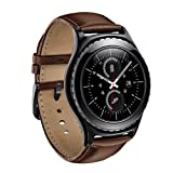 Gear S2 Watch Band, Wollpo Premium Leather Bands with Bukle Spring Bar Replacement Watch Band for Samsung Gear S2 Classic Smartwatch (Leather, Brown)