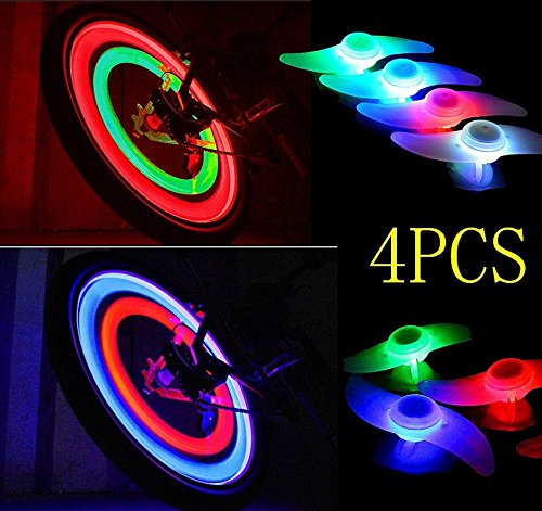 FORSUN LED Bicycle Wheel Spoke Bulb, Red Blue Green and Multi-color, Pack of 4
