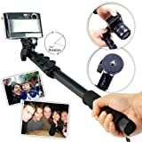 First2savvv ZP-188A01 black Self-portrait extendable telescopic handheld Pole Arm monopod Camcorder/Camera/mobile phone tripod mount adapter bundle for Panasonic DMC-FT5 DMC-FT25 Nikon COOLPIX AW100 FUJIFILM FinePix F800EXR FUJIFILM FinePix XP60 FinePix