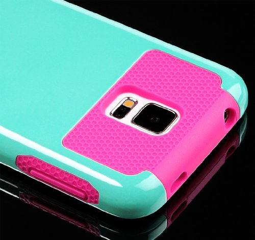 Mylife (Tm) Smooth Teal Blue And Hot Pink - Free Flex Series (2 Layer Neo Hybrid) Slim Armor Case For The New Galaxy S5 (5G) Smartphone By Samsung (External Rubberized Hard Shell Flex Piece + Internal Soft Silicone Flexible Bumper Gel + Lifetime Warranty