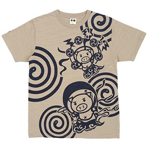 (ブーテンショウテン)BUDEN SHOTEN 豊天商店 風神雷神うずまき半袖Tシャツ BU1152003  30 駱駝 L
