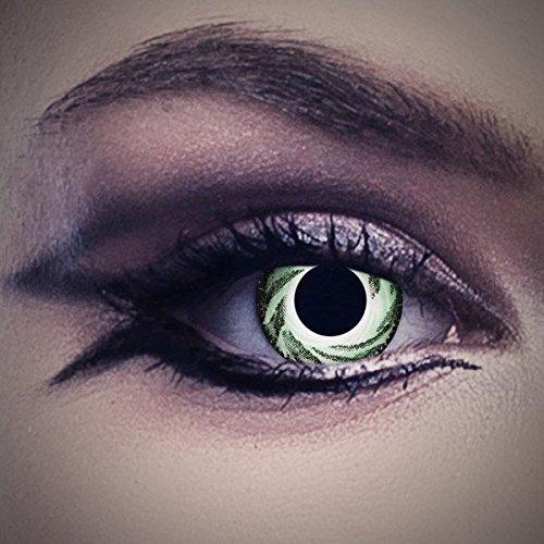 Lenti a contatto colorate Green Hurricane da Aricona - coprendo anni lenti per gli occhi chiari e scuri, senza ricetta, lenti colorate di carnevale, feste a tema e costumi di Halloween