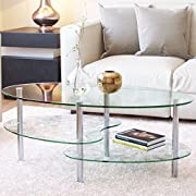 Ryan Rove Fenton 38 Inch Oval Two Tier Glass Coffee Table (Clear Top and Bottom)