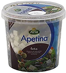 APETINA Feta Cube in Oil Bulk, 3.3 Pound (Pack of 4)