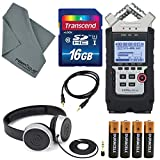 Zoom H4N PRO Four-Track Handy Audio Recorder with Samson Studio Headphones and Deluxe Accessory Bundle