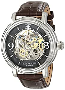Thomas Earnshaw Men's ES-8011-02 Longcase Stainless Steel Automatic Watch with Brown Genuine Leather Band