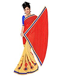 SAILAXMI FASHION Women's Red and Beige Saree (SLFS012_Free_Size)