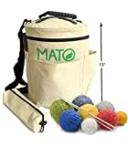 Mato Eco-Friendly Natural Canvas Yarn Storage Organizer Bin Bag - Tote for Carrying Skeins, Knitting and Crochet Needles Craft Tools