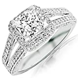 1.74 Carat GIA Certified Princess Cut / Shape Split Shank Double Row Princess And Halo Pave Set Diamond Engagement Ring ( J Color , VS1 Clarity )