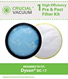 Dyson Washable Pre-Filter & Non-Washable Post-Motor HEPA Filter Fits ALL Dyson DC-17 Vacuum Cleaner Models; Compare to Dyson Pre-Motor Filter Part # 911236-01 & Post-Motor Filter Part # 911235-01; Designed & Engineered By Crucial Vacuum