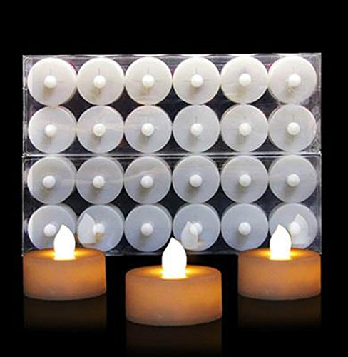 12 x LED FLAMELESS CANDLES FLICKERING TEA LIGHT CANDLES BATTERY TEALIGHTS