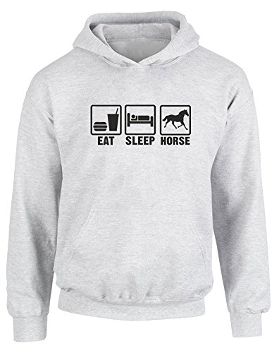 Eat Sleep Horse, Kids Printed Hoodie - Ash Grey/Black 5-6 Years