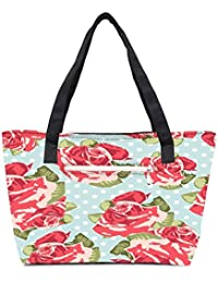 Pack Of 2 Beautiful Seamless Rose Pattern With Blue Polka Dot Background Combo Tote Shopping Grocery Bag With...