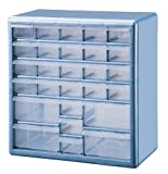 Stack-On DSLB-27 27 Bin Plastic Drawer Parts Storage Organizer Cabinet, Light Blue