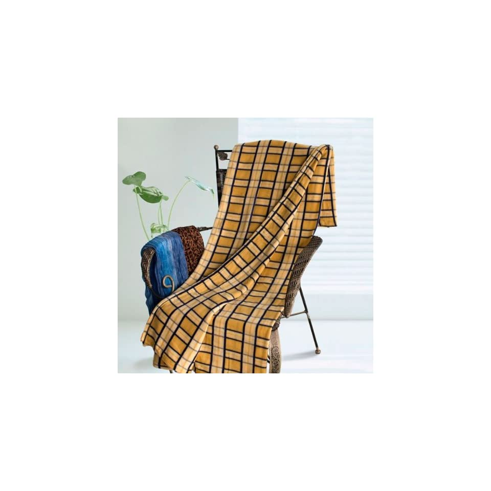[Yellow/Blue Plaids] Soft Coral Fleece Throw Blanket (59 by 71 inches)