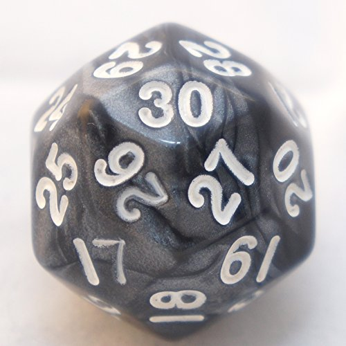 Swirl Black and Silver Smoke D30 Thirty Sided Polyhedral Dice Die