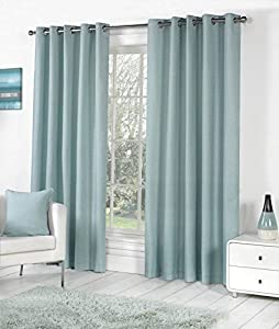 DUCK EGG BLUE 100% COTTON 66x90 168x229CM FULLY LINED RING TOP CURTAINS DRAPES by Curtains