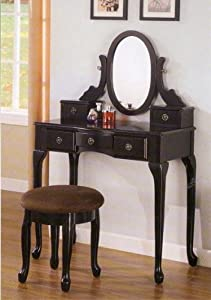 Best choice products black vanity table set for Black makeup desk