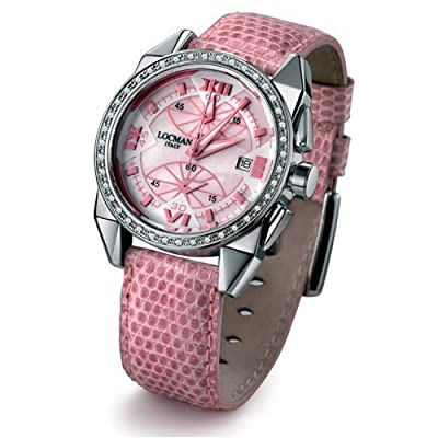Locman Ladies Cavallo Pazzo Diamond Bezel Snakeskin Strap Watch 161MOPPKD