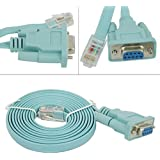 HDE 6ft DB9 9-Pin Serial Port to RJ45 Cat5 Ethernet LAN Console Cable