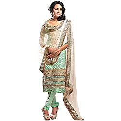 Fabtantra Womens Georgette Straight Dress Material (10070 -Green -Free Size)