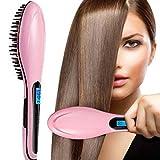 Glätteisen Kamm, Haarglättungsbürste , elektrische Hot Hair Brush LCD-Ion Bürste Auto gerade Werkzeug, Anti-Scald Massage, elektrische Kamm Glätteisen(EU Stecker)(Rosa)